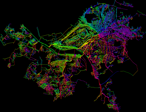 Full shortest paths map, Pittsburgh